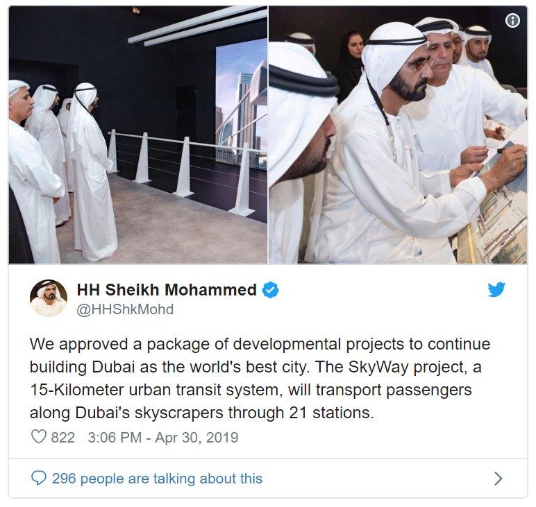 Dubaj oznámila výstavbu prvních 15 km tras SkyWay se 21 stanicemi mezi mrakodrapy
